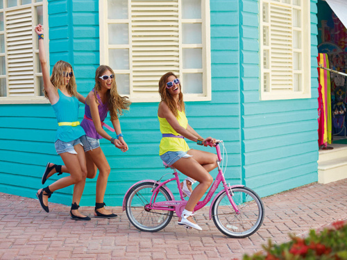 beauty, bike, blonde, colors, cute, friends, girls, hair, tan