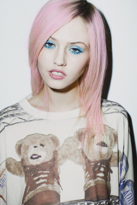 beauty, blue eyeshadow, blue makeup, charlotte free, colored hair, cotton candy colored, cotton candy hair, dyed hair, edgy, free, girl, girly, hair color, lips, makeup, model, novelty t-shirt, novelty tee, pastel, pastel hair, pink hair, pout, pretty