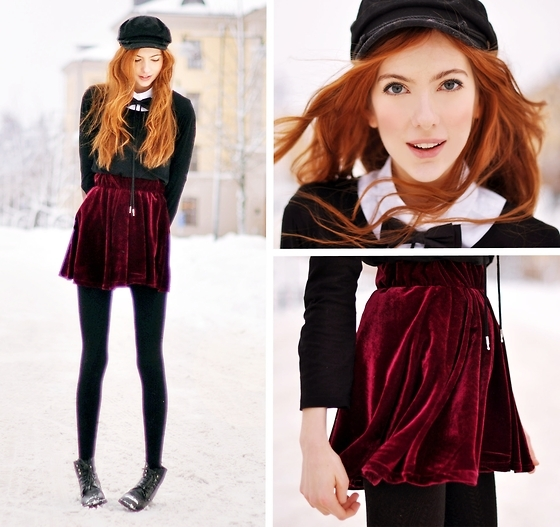 beauty, bow ties, bowtie, fashion, fashion lookbook, frio, garota, linda, look, lookbook, moda, neve, pretty, red, red hair, ruiva, saia, skirt, snow, velvet