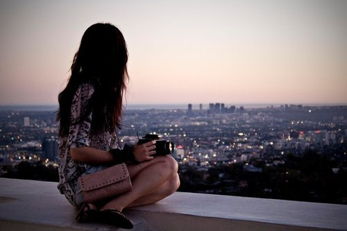 beauty, brunette, camera, city, fashion, girl, hair, lights, photography, purse, town