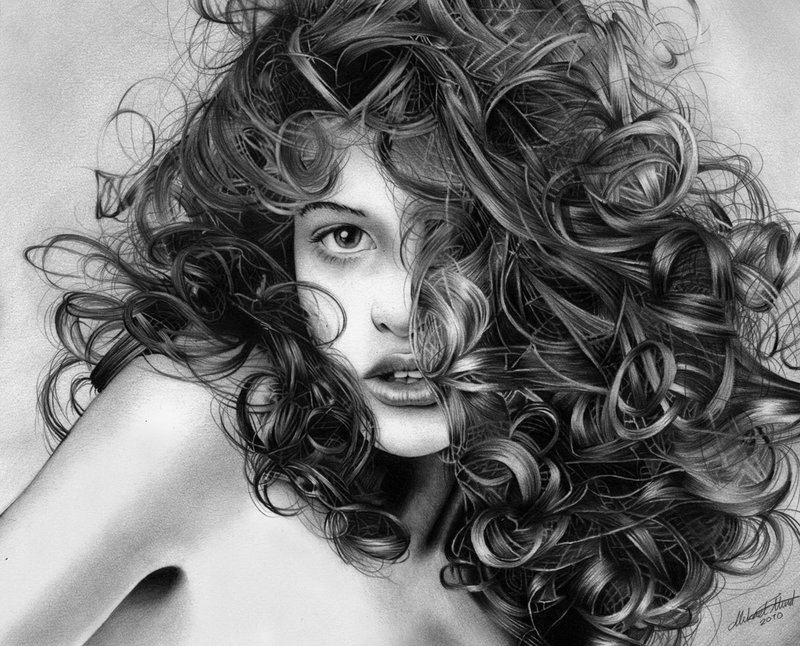 beauty, curls, drawing, hair, illustration