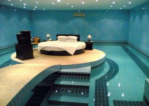 bed, blue, pool, water