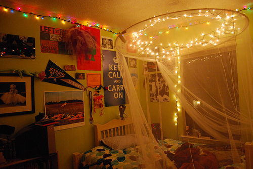 bed, cozy, lights, room