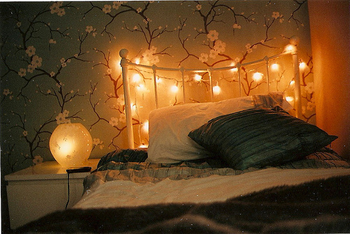bed, design, fairy lights, flower, interior