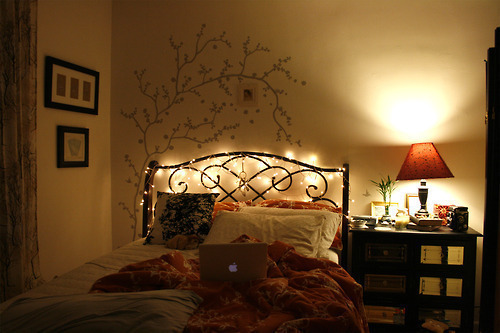 bed hipster lights nice photography image 417548 on