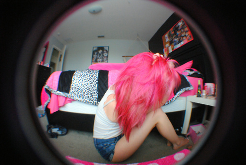 bedroom, girl, photography, pink, pink hair