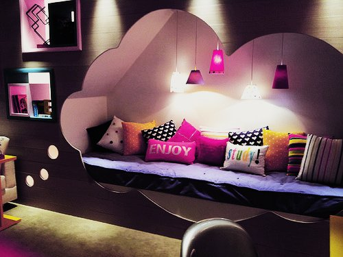 bedroom, lights, photography, pink, pretty