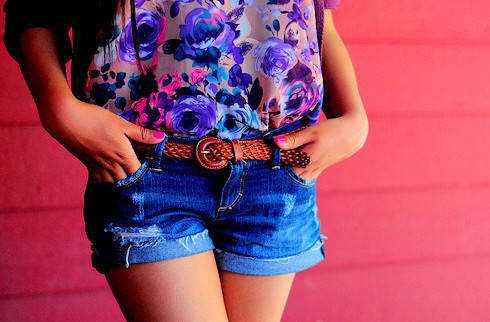 belt, cute, flower, girl, jeans