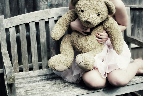 bench, cute, girl, photography, teddybear