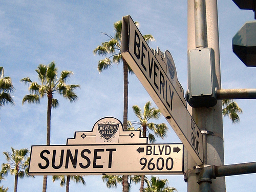 beverly, cali, california, signs, sunset