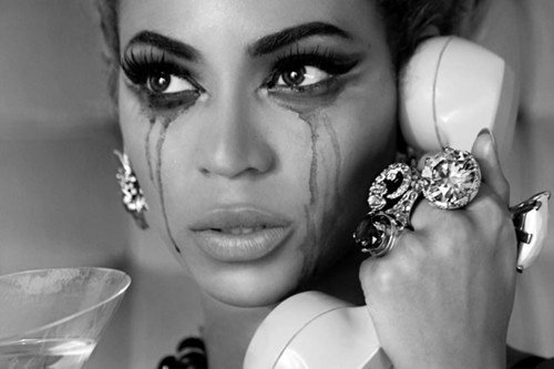 beyonce, make up, sad, tears, telephone