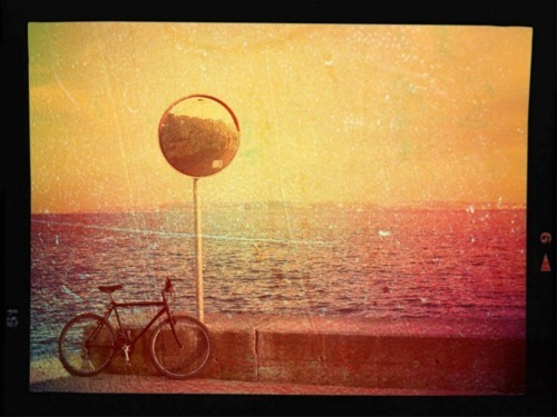 bicycle, bike, catherine-loup, landscape, lisbon, ocean, photography, portugal, santo amaro oeiras, vintage, vintage photo