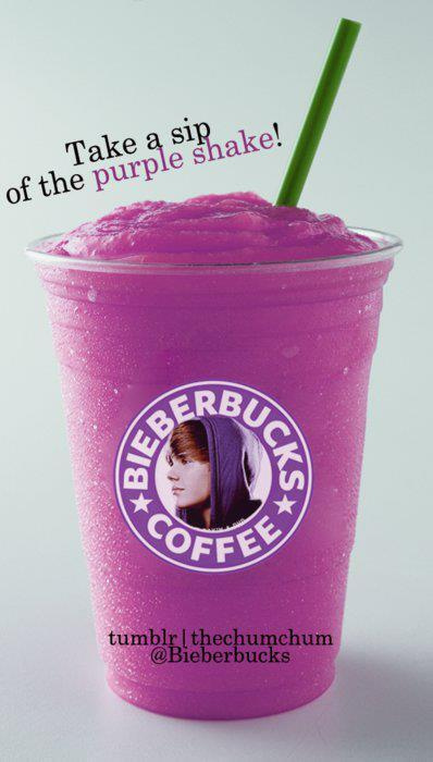 bieberbucks, coffe, cool, cute, hake, justin bieber, purple, starbucks, tasty