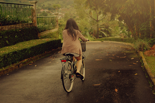 bike, biking, girl, green, peaceful, trees