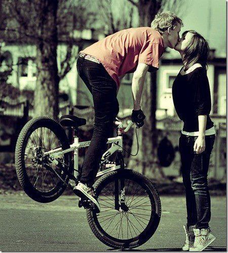 bike, boy, cute, girl, kiss