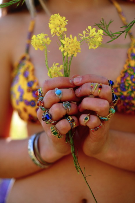 bikini, bohemian, boho, bracelets, colorful, colors, colourful, colours, fingers, flowers, girl, hands, photography, rings