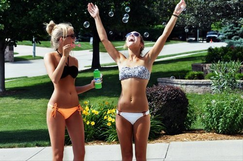 bikini, bubbles, cute, neon, summer