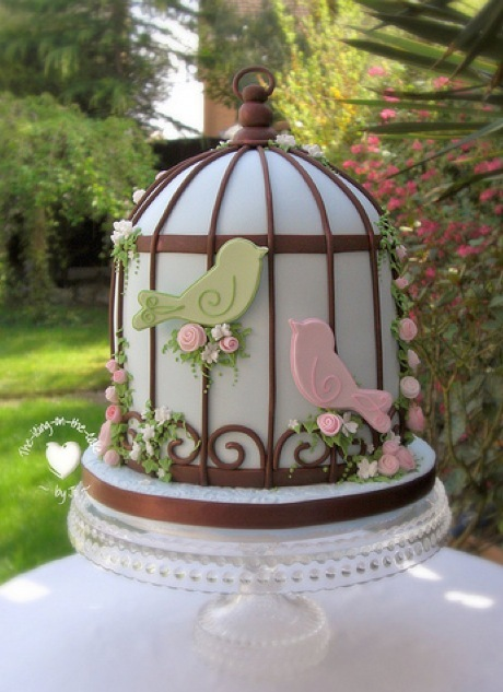 bird cage, birdcage, birds, cake, cute, green, pink, roses, sugarcraft, the icing on the cake