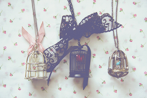 birds, cage, cute, necklace, vintage