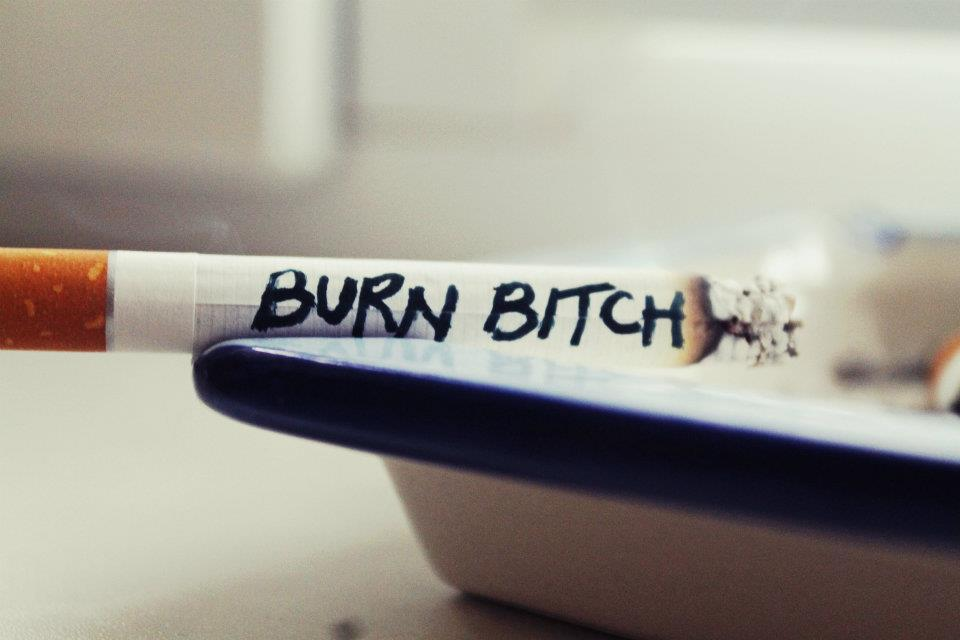 bitch, burn, cigarette, smoke, text