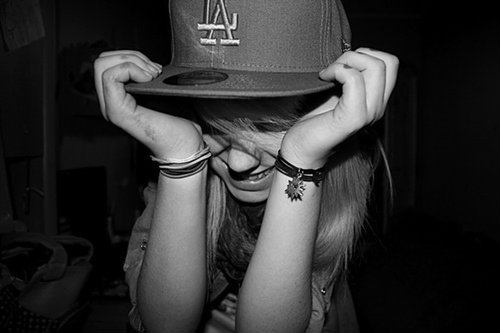 black and white, blond, blonde, bracelets, girl