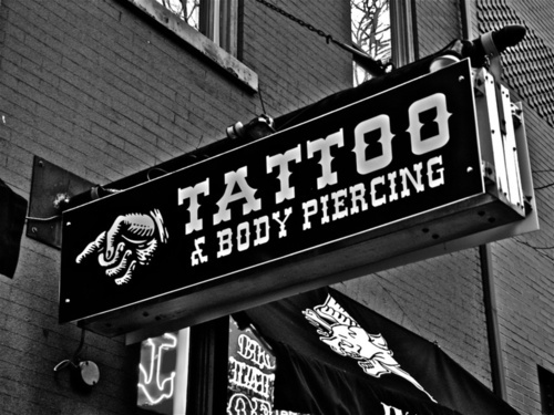 black and white body piercing music piercing shop