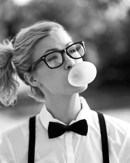 black and white, bow tie, buble, girl, glasses, gum, pony tail