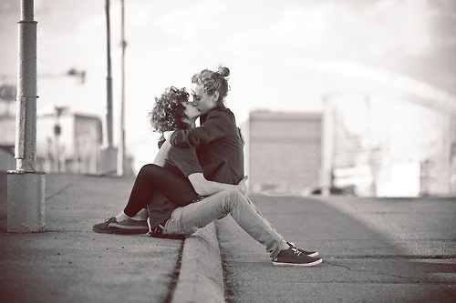 black and white, boy, couple, curly, cute, girl, kiss, love, photography