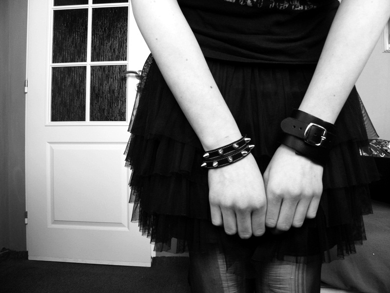 black and white, bracelets, hands, pale, skirt