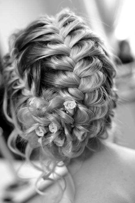 black and white, braid, braids, hair