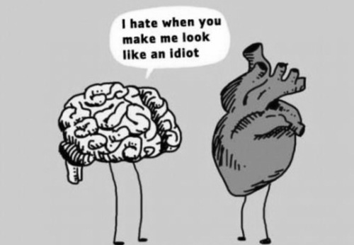 black and white, brain, heart, text