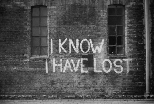 black and white, brick, know, lost, sad, text, wall, writing, yeah i know