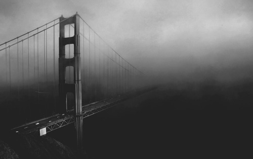 black and white, bridge, mist, photography, river
