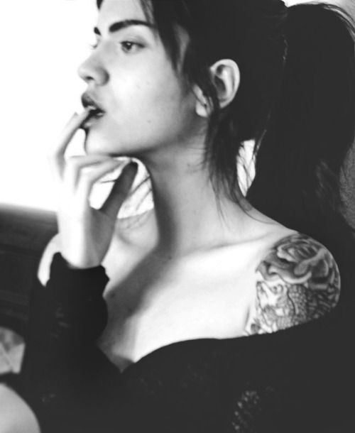 black and white, brunette, collarbones, face, fingers, girl, hands, lips, long hair, neck, roses, skin, tattoo, woman