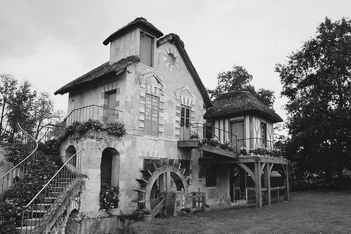 black and white, cottage, exterior, house, vintage