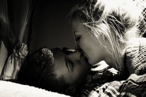 black and white, couple, cute, kiss, love