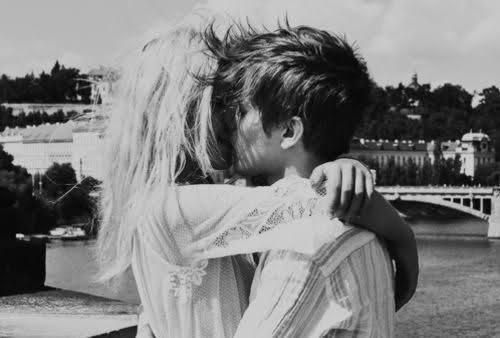 black and white, couple, girl and boy, kisses, love