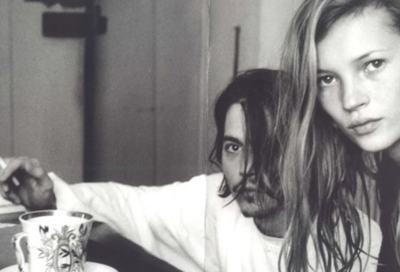 black and white, couple, johnny depp, kate moss, love