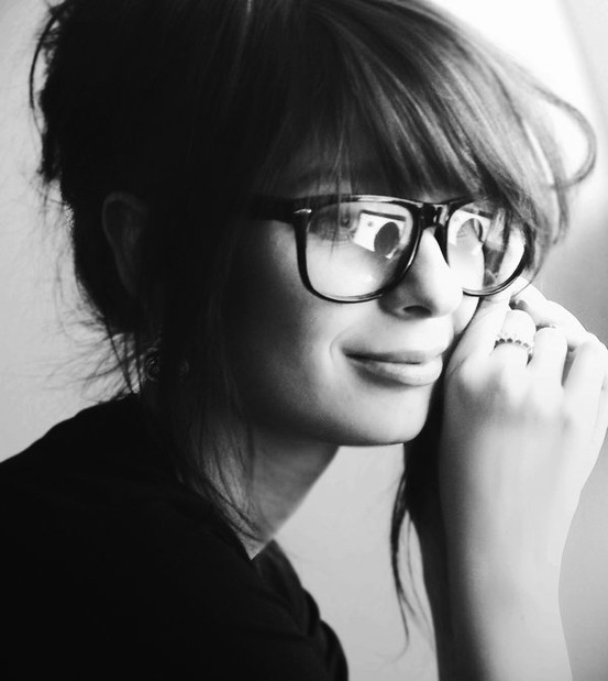 black and white, cute, girl, glasses, pretty, smile