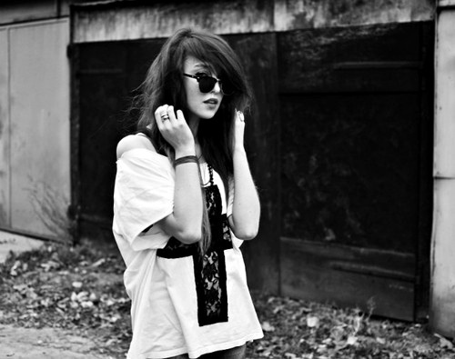 black and white, fashion, girl, glasses, hair