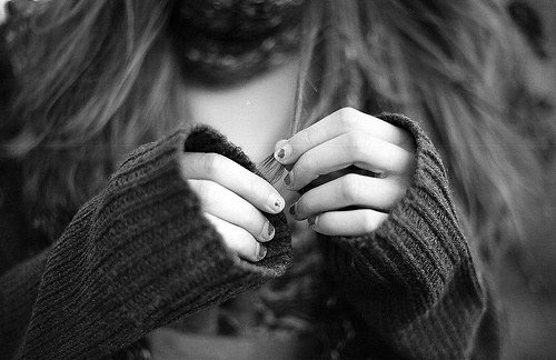black and white, girl, hands, photography
