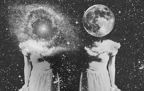 black and white, girl, moon, universe
