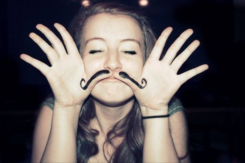 black and white, girl, mustache, text, vintage