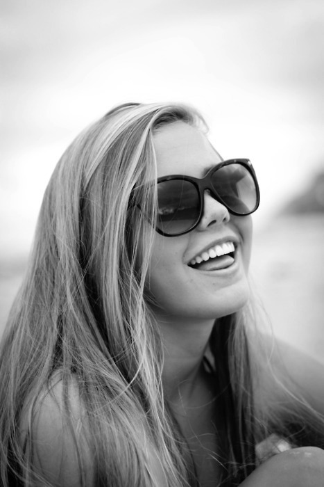 black, black and white, blonde, girl, glasses, laugh, sunglasses, white