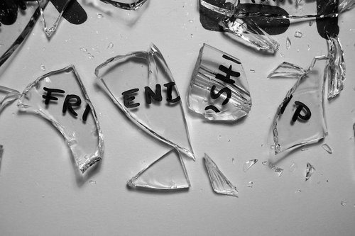 black, black and white, broken, friendship, glass, text, white