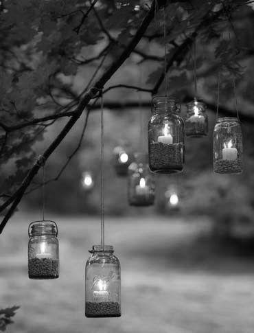 black, black and white, candle, cool, hanging, jar, light, love, tree, white