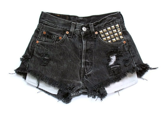 black, black shorts, fashion, high waist shorts, high waisted shorts