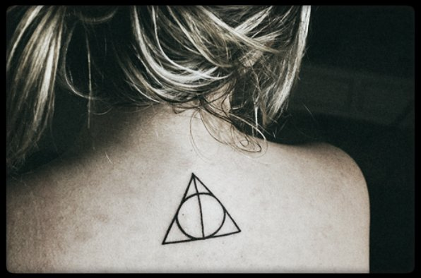 black, blond, circle, deathly hallows, dream