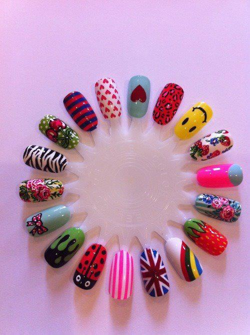 black, blue, bow, england, green, heart, nails, pink, red, smile, yellow