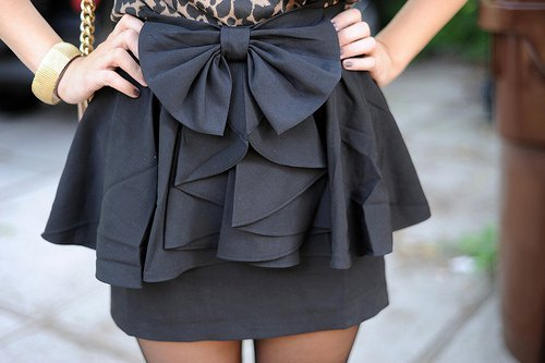 black, bow, cute, fashion, skirt